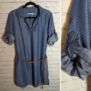 Kenneth Cole chambray button-up shirt dress sz 14